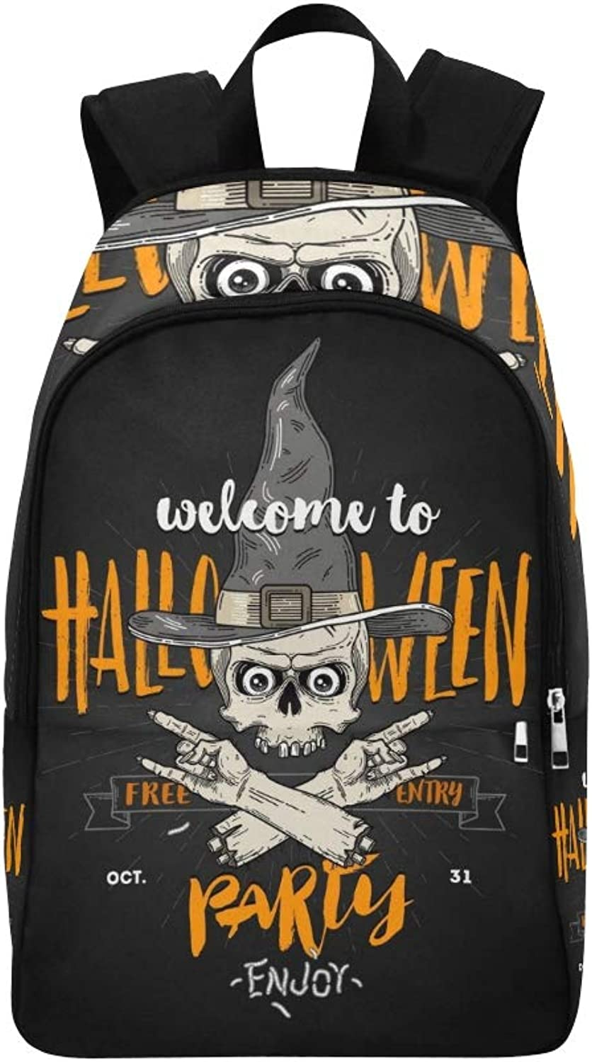 Halloween Poster Zombie Head Witch Hat Casual Daypack Travel Bag College School Backpack for Mens and Women