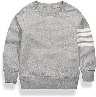 Weixinbuy Boys' Solid Strip Cotton Tops Cozy Long Sleeve Sweatshirt T-Shirt