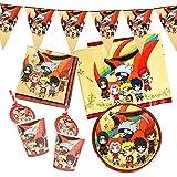 Gxhong Suministros de Fiesta Naruto Temáticos, Naruto vajilla para fiesta de cumpleaños, decoración de mesa de cumpleaños para niños, Pancarta Platos Tazas Servilletas Mantel Paja, 52 piezas