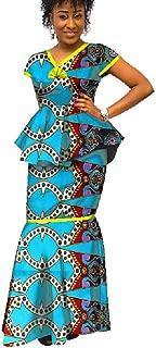 Womens African Print 2 Piece Skirt Set Ankara Mermaid Maxi Skirt and Peplum Tops