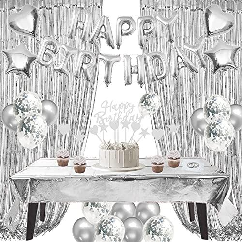 ZERODECO Decoraciones de cumpleaños plateadas, papel de con globo de feliz cumpleaños, con flecos, cortinas brillantes, bandera de torta, globos de estrella corazón, globos para fiesta de cumpleaños