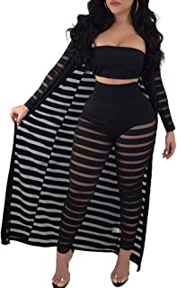 Women Sheer Mesh 3 Piece Outfit Tube Crop Top Long Kimono Cardigan Cover up and Bodycon Pants Suit Set