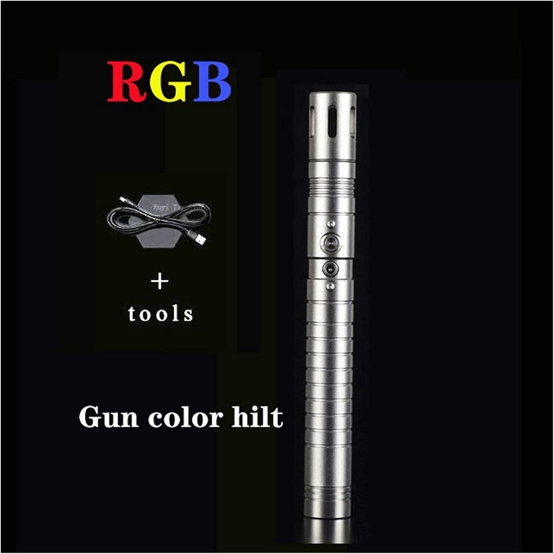 YOUPI 100% nuevo RGB L.E.D Lightsable, Force FX Heavy Dueling, sable de luz recargable, sonido fuerte con FOC, Hilt, Blaster, regalos para niños (color : empuñadura de pistola RGB)
