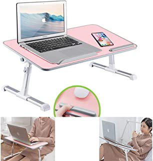 Sponsored Ad - RiwiR Laptop Desk Pink Foldable Lap Desk Stand Portable Bed Sofa Adjustable Height with Tilt Angle Folding ...