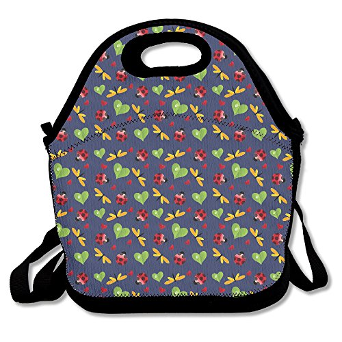 Dragonfly Leaf Hart Lieveheersbeestjes Lunch Bag Tas Handtas Lunchbox Voor School Werk Outdoor