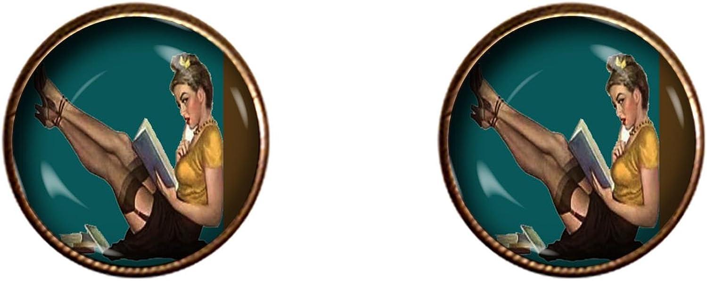Pin-up 16mm Cuff links vintage Secretary book worm handmade jewelry gifts