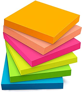 Sticky Notes 3x3 Inches - Sticky Notes with Strong Adhesive, 6 Bright Colors, 100 Sheets/Pad, 3 x 3 Inches, Great for School, Office, Home