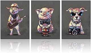 Visual Art Decor Cartoon Funny Animals Wall Art Canvas Prints Lovely Pig Dog Cat Pet Painting Modern Living Room Office Wall Decoration (12