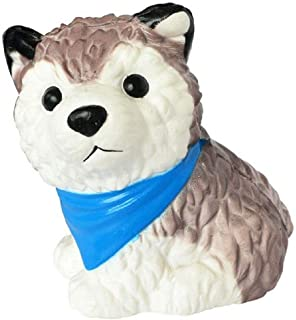 Squishies Dog Super Slow Rising Soft Kawaii Animal Cartoon Husky Dog Toy Decompression Stress Reliever Toy (Blue Scarf Dog)