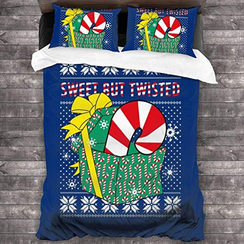 Knncch Sweet But Twisted Candy Cane Christmas Knit Pattern 3 Piezas Juego de Cama Funda nórdica Juego de Cama Decorativo de 3 Piezas con 2 Fundas de Almohada