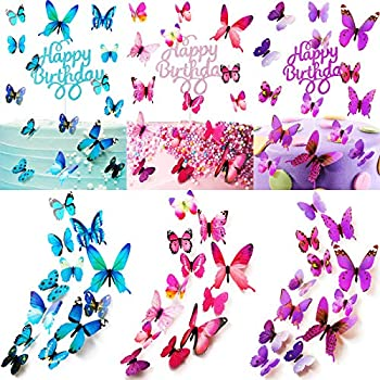 138 Pieces Glitter Cake Toppers Set Include 30 Pieces Happy Birthday Cake Toppers and 108 Pieces Butterfly Cupcake Toppers Mixed Color Dessert Toppers Birthday Wedding Party Anniversary Celebration