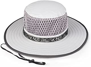 LONGren Sun Hat Men's Summer Outdoor Climbing Ride Bike UV Protection Mesh Visor Hat with Chin Band (Color : Light Gray, S...