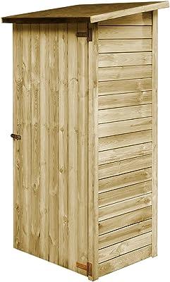 WELLIKEA Abri à Outils de Jardin Bois de pin imprégné 88 x 76 x 175 cm