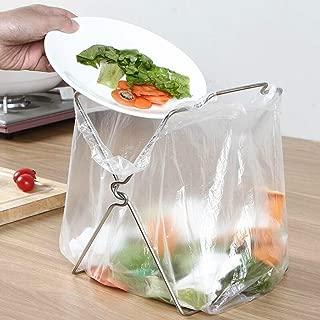 Highpot Stainless Steel Trash Bag Holder Rack Foldable Countertop Trash Bag Bracket Holder Organizer Dishcloth Towel Rack