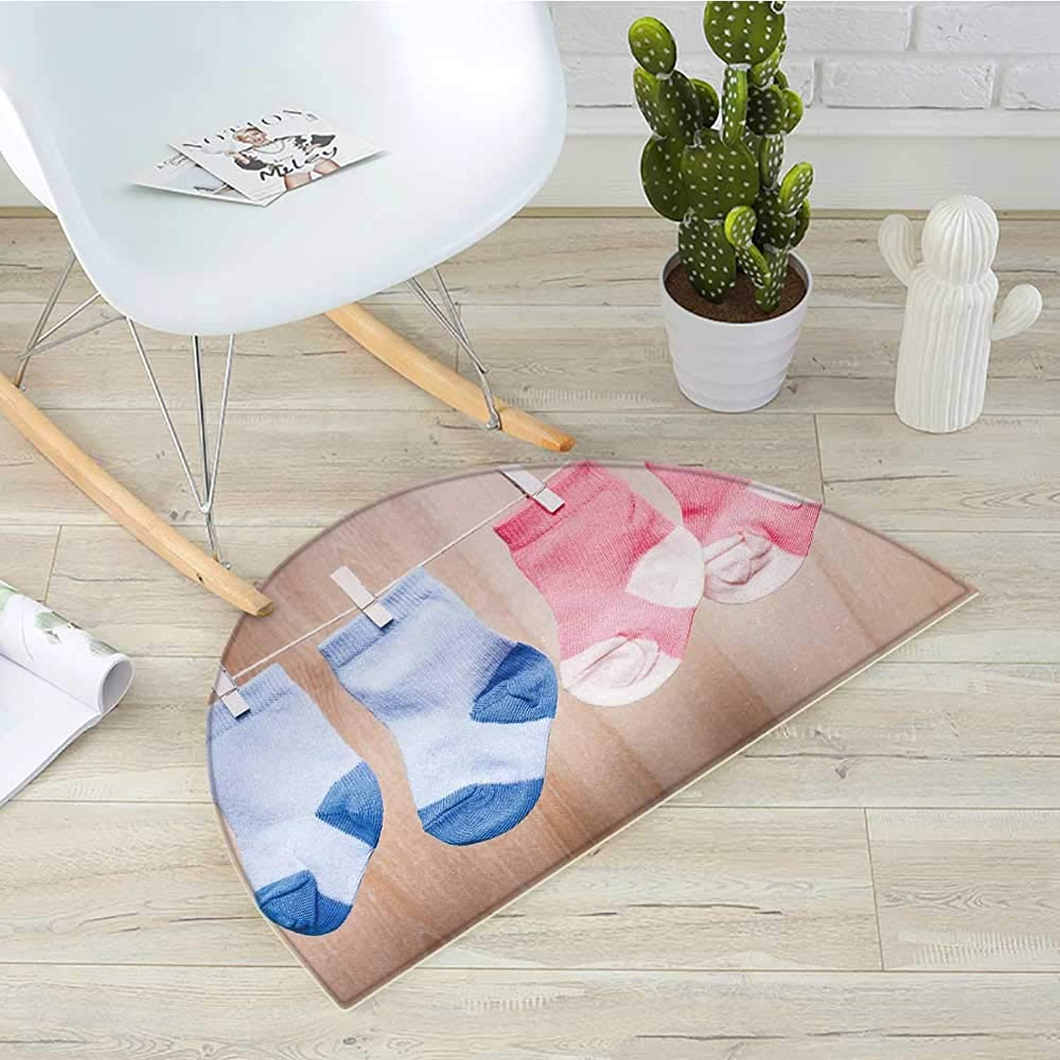 Gender Reveal Half Round Door mats Baby Socks Attached to Rope Cute Birthday Birth in The Family Image Bathroom Mat H 31.5  xD 47.2  Pink Coral bluee