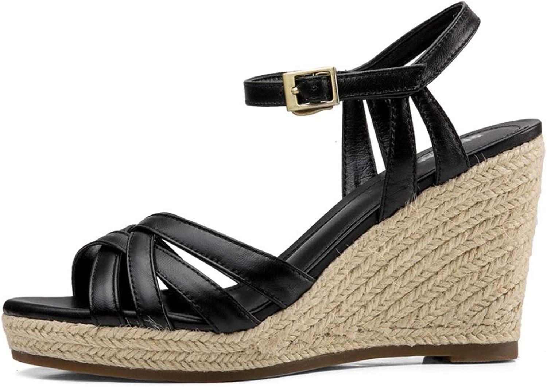 Wedge Sandals Sandaler Kvinnors Sandaler sommar Woherrar skor skor skor modeable High klackar Comfortable Flat skor High 8cm (Färg  svart, Storlek  38  US7)  tidlös klassiker