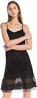 Women's Lightweight Layering lace Ruffle Knit Full Slip Dress Extender with Adjustable Straps