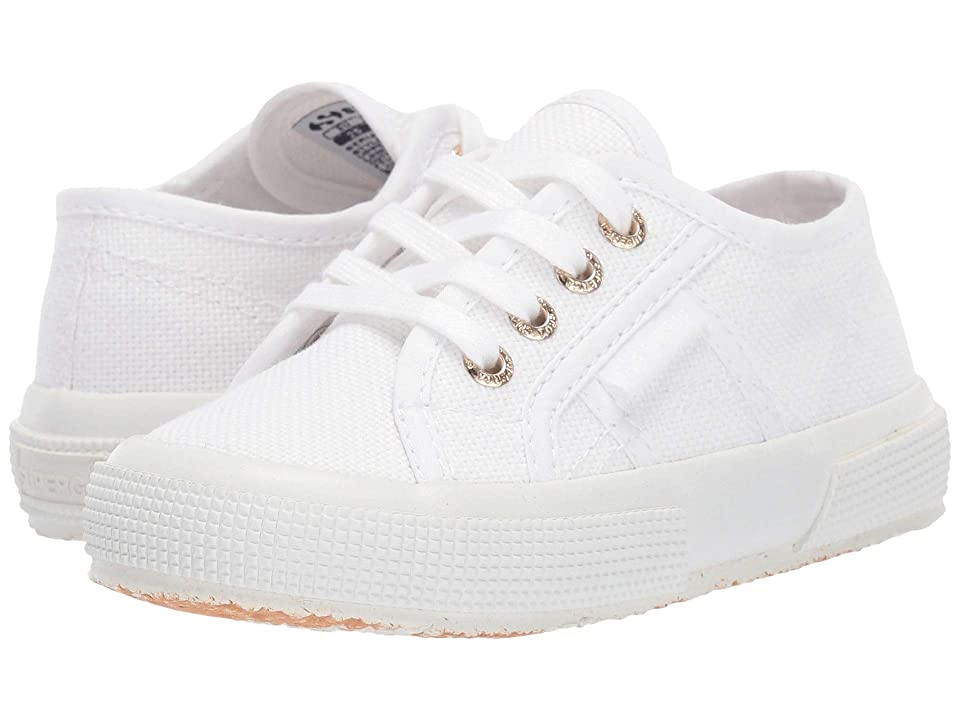 Superga Kids 2750 JCOT Classic (Toddler/Little Kid) (White/Gold) Girls Shoes
