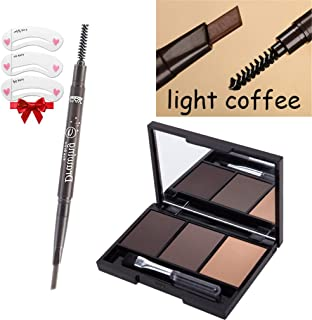 Portable Eyebrow Enhancer Set [Eyebrow Powder Palette+Waterproof Eyebrow Pencil ] Makeup For Eyes Brow And Paint Brush Dark Khaki