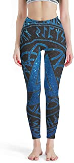 Womens Viking Printed Yoga Wear Pants Soft & Slim Lightweight Fitness Jogger Trousers Full Length Nylon Viking Yoga Capris Tights Slim Every Body Type