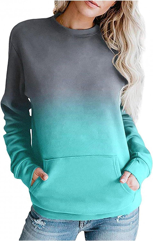 Haheyrte Hoodies for Womens Crewneck Long Sleeve Sweatshirt Casual Solid Pullover Lightweight Tops