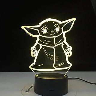 Lámpara De Ilusión 3D Led Night Light Star Wars Mini Yoda Baby Cartoon Meme Figura Para Regalos De Niños Decoración De Dormitorio Infantil Lámpara De Mesa