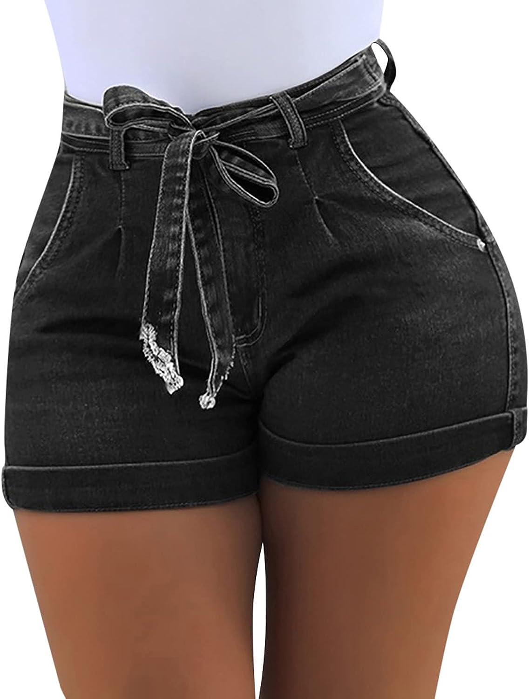 Navyoom Women's Drawstring Denim Shorts Comfy Shorts for Women Teen Girls Casual Summer Elastic Waist Jeans Shorts