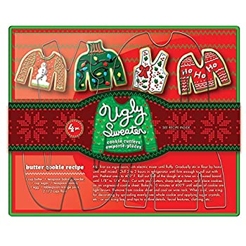Fox Run Ugly Christmas Sweater Cookie Cutter Set 4-Piece Stainless Steel