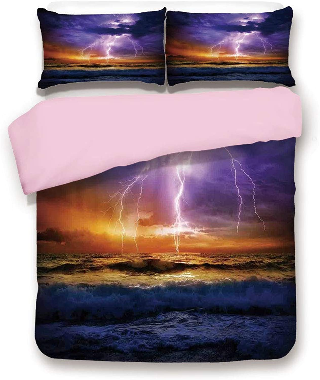 Pink Duvet Cover Set,King Size,Epic Lightning and Storm on the Sea Wave Horizon Bad Weather Atmosphere Home Decor,Decorative 3 Piece Bedding Set with 2 Pillow Sham,Best Gift For Girls Women,Purple Ora