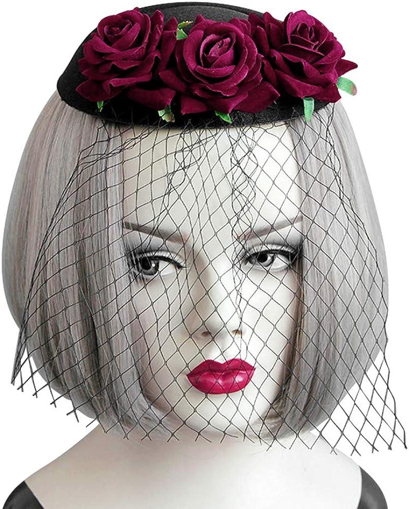 Women Fascinator Hair Clip Headband Floral Veil Cocktail Wedding Tea Party Hat Black