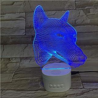 Lámpara De Ilusión Óptica La Luz De La Noche 3D, Cabeza De Perro Colorida De