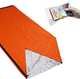 RUMIA サバイバルシート アルミシート エマージェンシーブランケット ヒートシート 非常時用寝袋 アウトドアや防災に 軽量 防寒 保温 防水 遮熱 オレンジ 繰り返し使用可