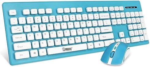Wireless Keyboard and Mouse Set, 2.4G Ultra Slim Compact Wireless Keyboard Mouse Combo, Stylish Full-Size Keyboard, Blue