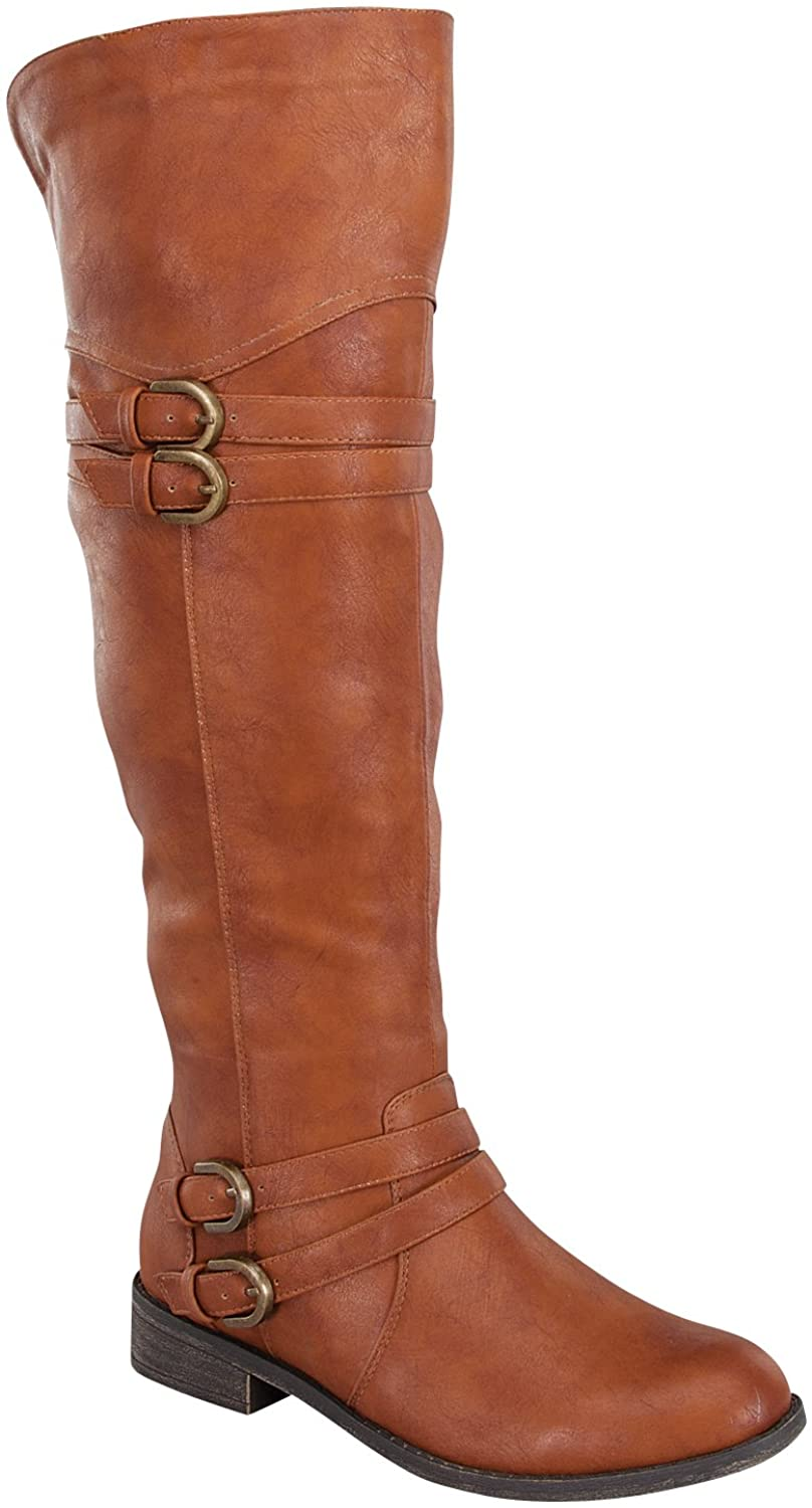 Top Moda Womens Fay-42 Over The Knee Buckle Riding Boots