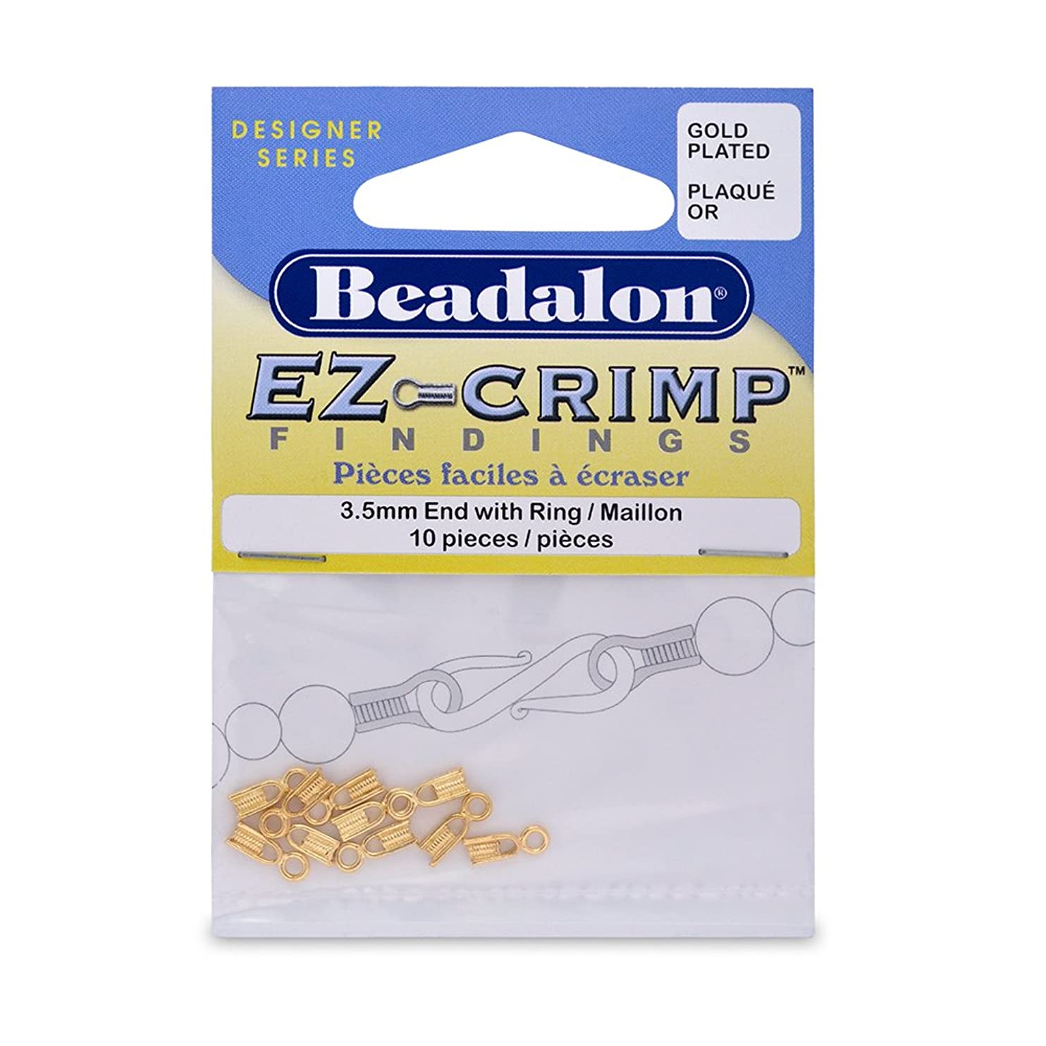 Artistic Wire Beadalon EZ-Crimp End 3-1/2mm Ring Gold Plated, 10-Piece