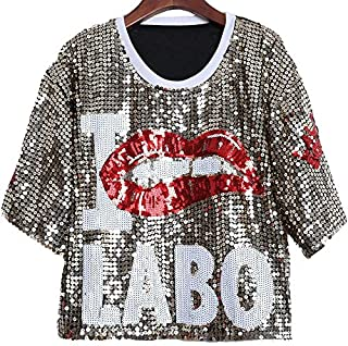 QGTCLOTHING Women Lip Sequin Round Neck Short Sleeve T-Shirt Costume (Color : Gold, Size : One Size)