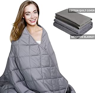 AMYHOMIE Weighted Blanket & Removable Duvet Cover,2.0 Heavy Blanket Premium Cotton with Glass Beads (Gray, 60''x80'' 15lbs)