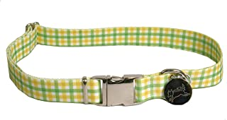 "Southern Dawg Gingham Yellow & Green Premium Dog Collar - Size Large 18"" - 28"""