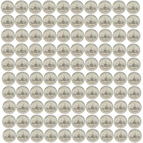 Italia 500 lire Argento'Caravelle' (11 gr. - 29 mm.) varie annate LOTTO COSTITUITO DA CENTO MONETE da collezione Silver Coin