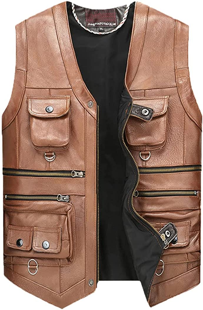 Cowhide Genuine Leather Vest Men Brown Waistcoat Male Sleeveless Jacket Thick Motorcycle Plus Size Vest Multi Pocket Zipper