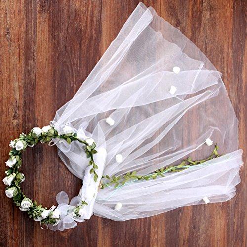 Lurrose Un velo,un velo,una corona,un velo de novia,anillos de flores.