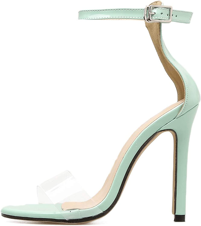 Little SU Transparent Sandals Buckle Ankle Strap Clear shoes Thin High Heels Transparent shoes