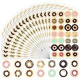 1568 piezas arandelas de refuerzo, coloridas pegatinas redondas para papel para reparar o decorar un libro de hojas sueltas, pegatinas de cuentas de bricolaje con bonitos patrones de donas