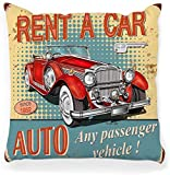Funda de almohada decorativa cuadrada 16 x 16 Vintage Rent Car Poster Retro 1950s 1960s Abstract Advertising Aged Auto Automóvil Automotriz Decoración para el hogar Funda de almohada con cremallera