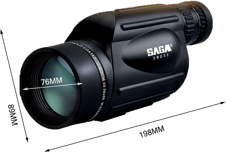 10-30x50 Zoom Spotting Scope Observation des Oiseaux Télescope monoculaire étanche Longues-Vues Téléscopiques avec Carry Pouch et Trépied