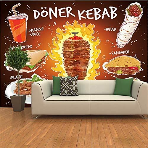 Panany Handgezeichnete 3D Kebab, flache Brot-Sandwich-Teller mit Orangensaft, Wandtapete, Fast Food, Restaurant, Wandtapete, 3D (350 x 250 cm, selbstklebendes PVC)