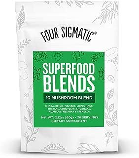 Four Sigmatic 10 Mushroom Blend - Lions Mane, Reishi, Cordyceps, Chaga, Enoki, Maitake, Shiitake, Tremella, Meshima, Agaricus Blazei, dual-extracts, 60 gram, 30 servings