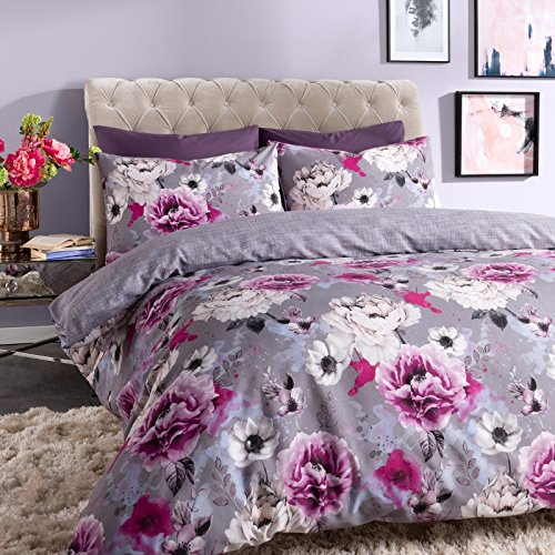 EHD Inky Floral Modern Stylish Pattern Luxurious Duvet Cover Sets Quilt Cover Sets Fully Reversible Bedding Sets With Matching Pillowcases (Grey, Single)