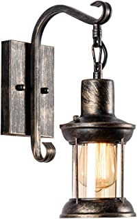Industrial Vintage Single Head, MOONKIST Rustic Nordic Glass Wall Sconce Fixtures Retro Metal Painting Color Wall lamp for Home Bar Bedroom Bedside Corridor Decorate Wall Light 110V