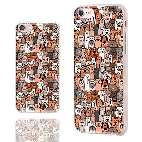 ChiChiC iPhone SE 2020 Case,iPhone 8 Case Cute,iPhone 7 Case for Girls,Slim Flexible Soft TPU Rubber Protective Cases Cover for Apple iPhone 7 8 SE 4.7 Inch,Cute Cartoon Animal Brown Dogs and Cats Pet